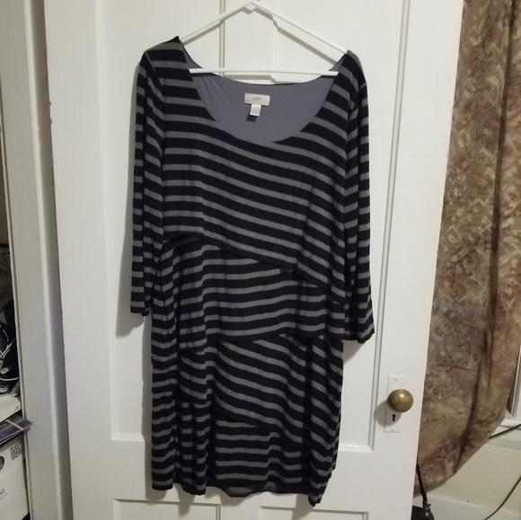 LOFT Dresses & Skirts - Black and gray striped Loft Dress